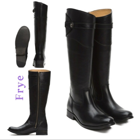 NWT FRYE Molly Button Tall Leather Boot Black 5.5